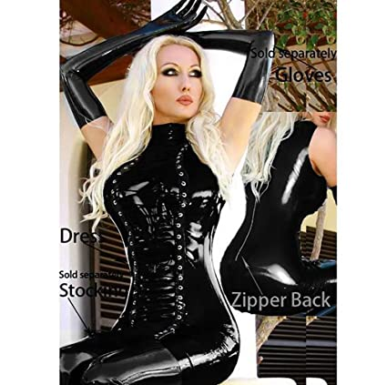 Women wearing latex catsuits and corsets think, that