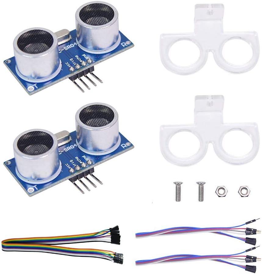 2pcs Ultrasonic Module HC-SR04 Distance Sensor with 2pcs Mounting Bracket for Arduino Uno R3 Mega 2560 Nano Raspberry Pi 3 Smart Robotics Projects