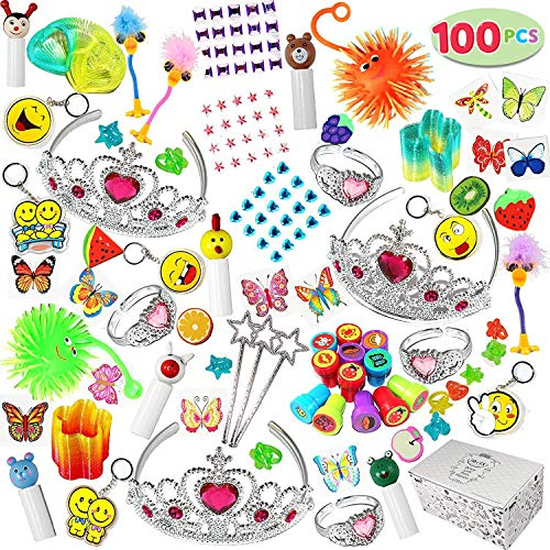 (Joyin Toy 100 Pc Party Favor Toy Assortment for Girls, Party Favor for kids, Birthday Party Supplies, School Classroom Rewards, Carnival Prizes, Pinata Fillers, Stocking)
