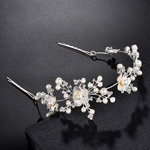 Lux Accessories Silver Tone Floral Pearls Faux Rhinestones Bridal Hair ()