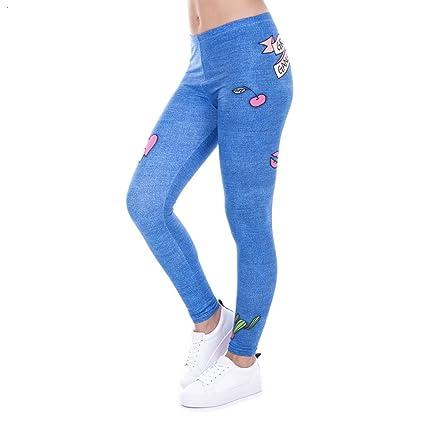 POAONOSS Pantalones de Yoga Legging Moda Jeans Mujer ...