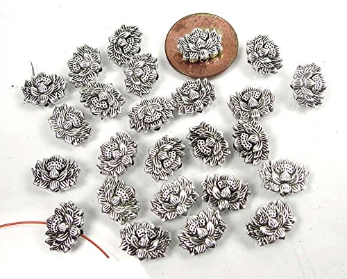 25pcs (12x8mm) Antique Silver Pewter - Lotus Flower Buddhist Beads / Lead-Free - Lotus Flower Bead
