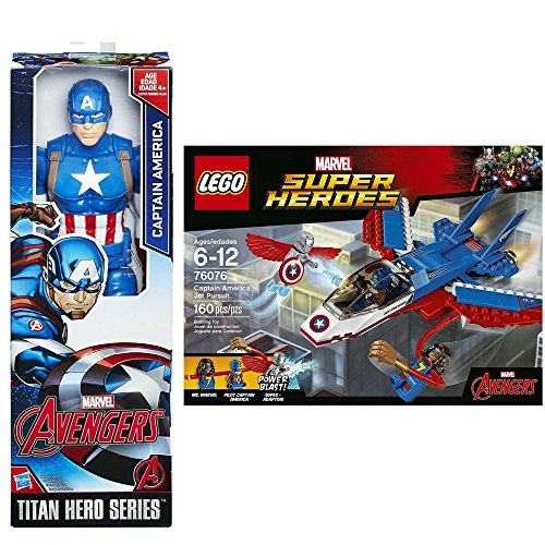Captain America 2 New Costume (Marvel Heroes Bundle : LEGO Super Heroes Captain America Jet Purnsuit 76076 Building Kit (160 Pieces) V Titan Hero Series Captain America 12 inch.)