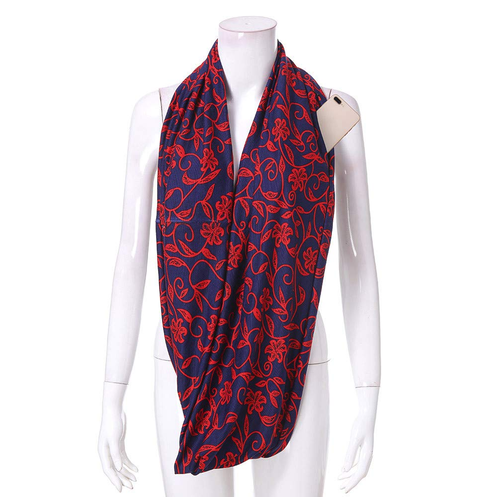 Women Fashion Plaid Winter Loop Thermal Active Infinity Scarf With Zip Pocket