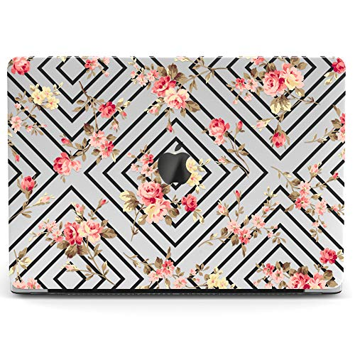 Wonder Wild Mac Retina Cover Case for MacBook Pro 15 inch 12 11 Clear Hard Air 13 Apple 2019 Protective Laptop 2018 2017 2016 2015 Plastic Print Touch Bar Flowers Roses Pattern Lines Geometry Rhombus -