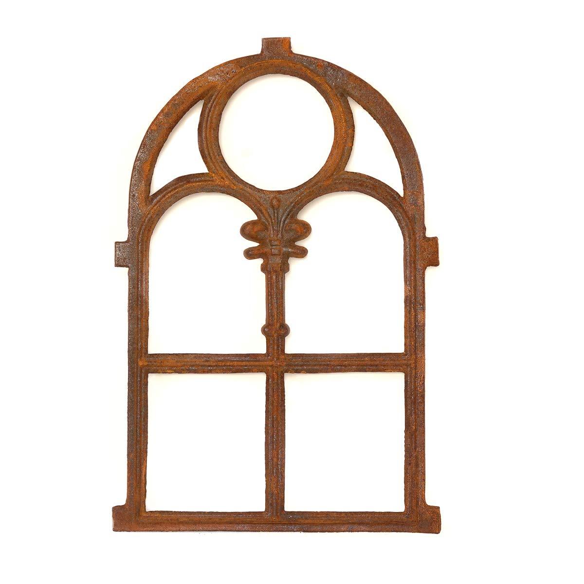 Antikas Stallfenster aus Gusseisen in Antik Optik | ca. 72,5 x 45,5 cm| Eisenfenster fü r Gartenmauer (rostig), rustikaler Look, Kirchenfenster