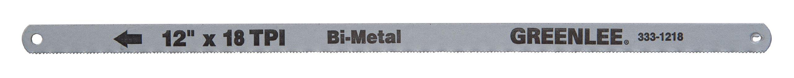 Greenlee 333-1218 Bi-Metal Hacksaw Blade, 12-Inch, 18-TPI, 5-Pack