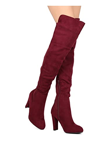 2b4d94438d3 Alrisco Women Bi-Material Over The Knee Chunky Heel Boot HG37 - Burgundy  Faux Suede