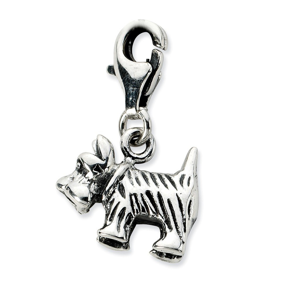 FB Jewels Solid Sterling Silver 3-D Antiqued Scottie Dog W//Lobster Clasp Charm