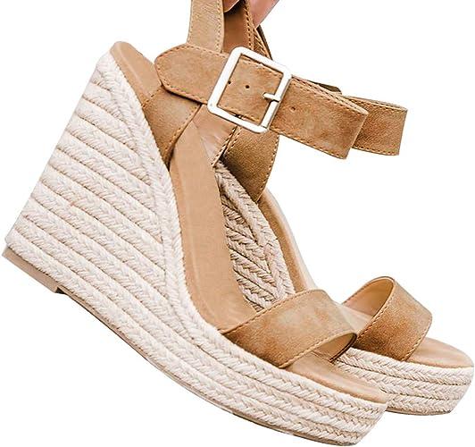 Womens Summer Slingback Wedge Sandals Ladies Casual Slip On Platform Shoes