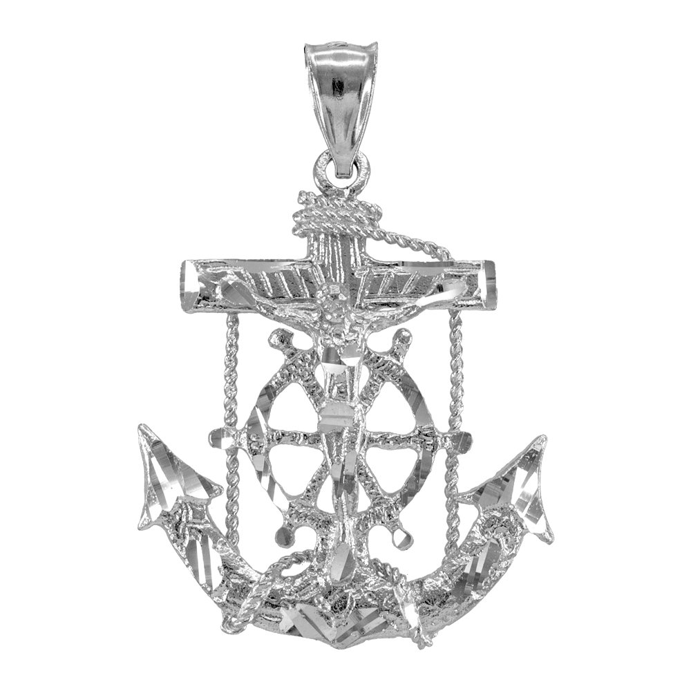 Men's Fine Jewelry 925 Sterling Silver Mariner Crucifix Anchor Cross Pendant
