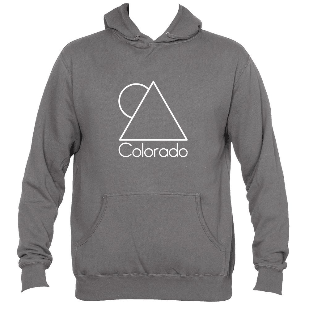 Mens Hooded Sweatshirt//Hoodie Colorado White Minimal Mountain and Sun