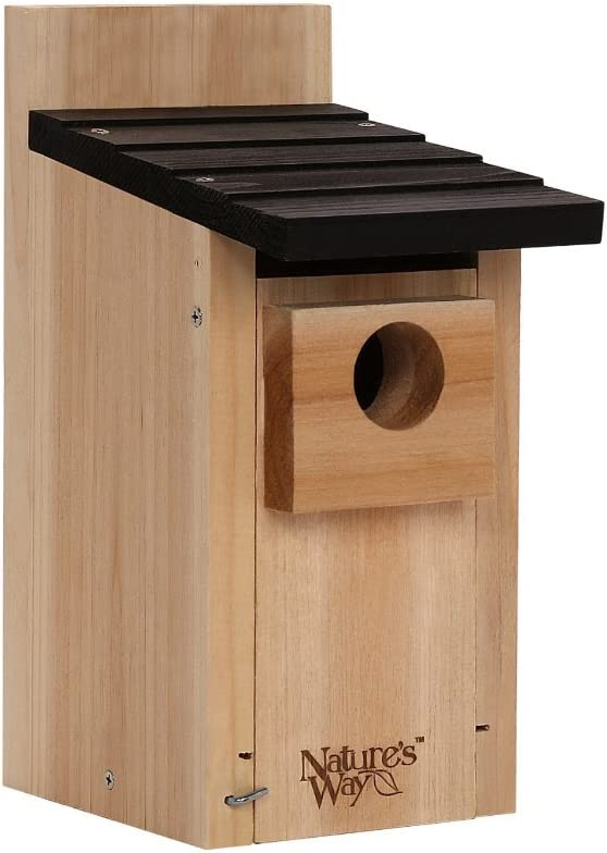 Nature's Way Bird Products CWH3 Cedar Bluebird Box House, 12'' X 7.5'' X 8.125'', Dark Wood
