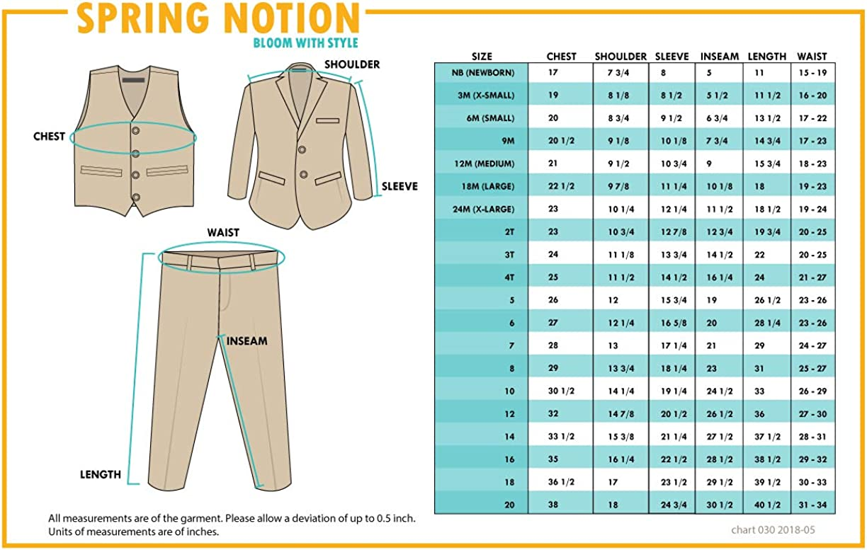 Spring Notion Baby Boys Modern Fit Dress Suit Set with Necktie and Handkerchief