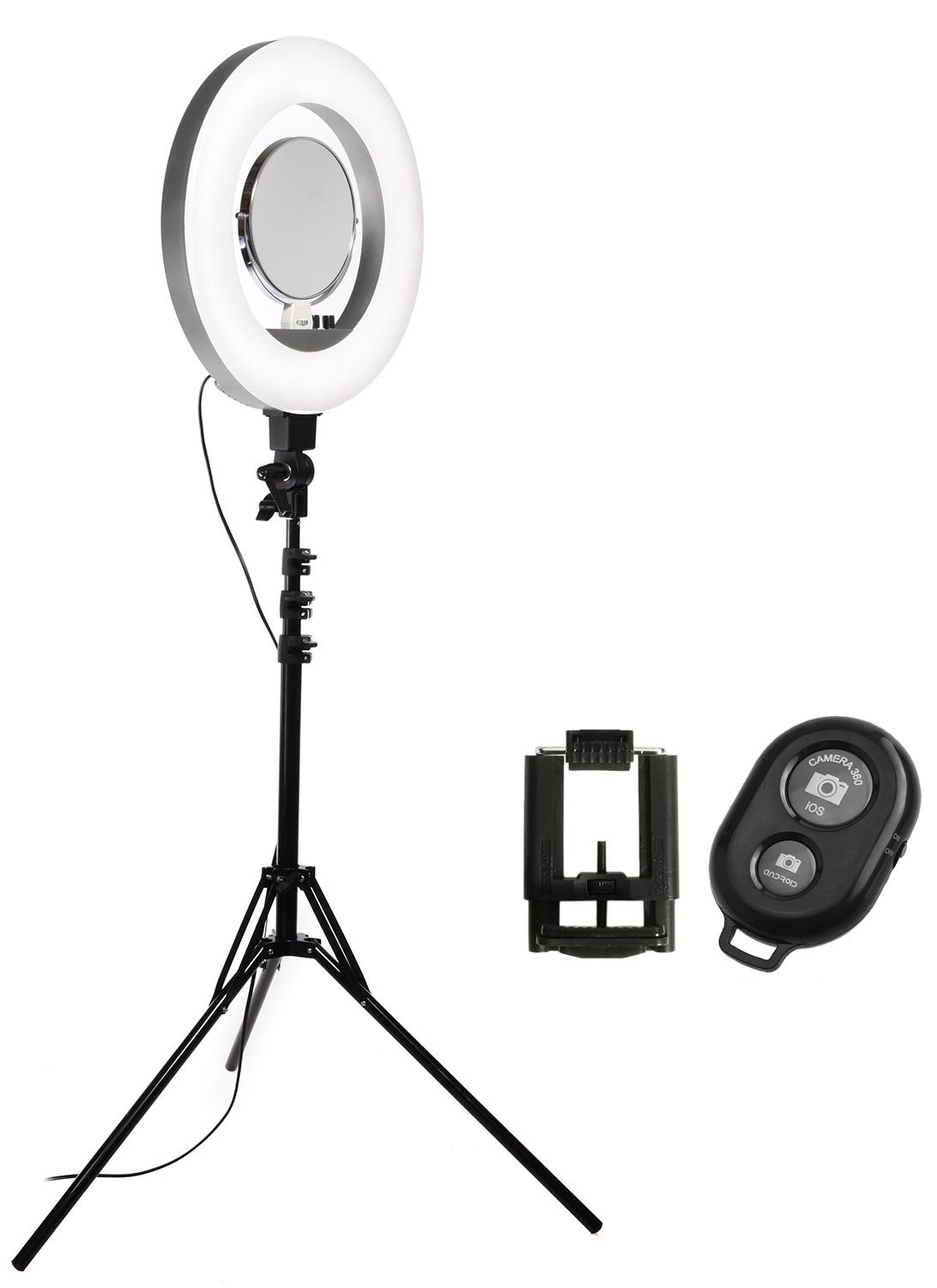 Calumet 18'' LED Diva II Ring Light (Silver) w/Wireless Bluetooth Camera Shutter Remote Control for IOS & Android Phones and Universal Smartphone Tripod Mount & Adapter For Most Smartphones by Calumet
