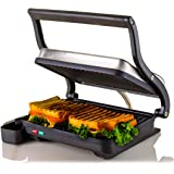 Ovente Electric Indoor Panini Press Grill with Non-Stick Double Flat Cooking Plate & Removable Drip Tray, Countertop…