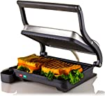 Ovente Electric Countertop Panini Press Grill with Double Nonstick Flat Cooking