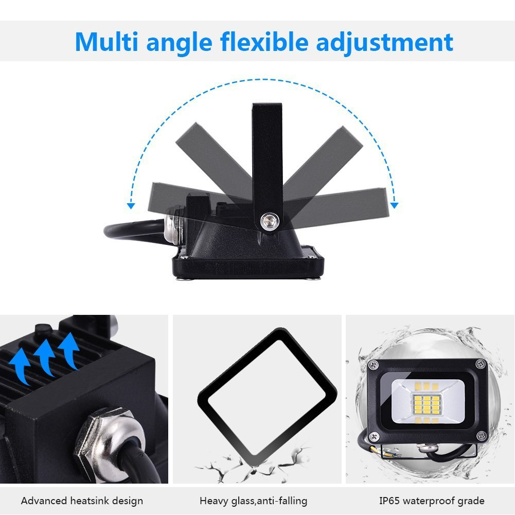 Confezione 2 Faretti LED Esterni 2 Pezzi Rifletttori LED Regolabili Lampade Impermeabili Luci da Barca Giardino