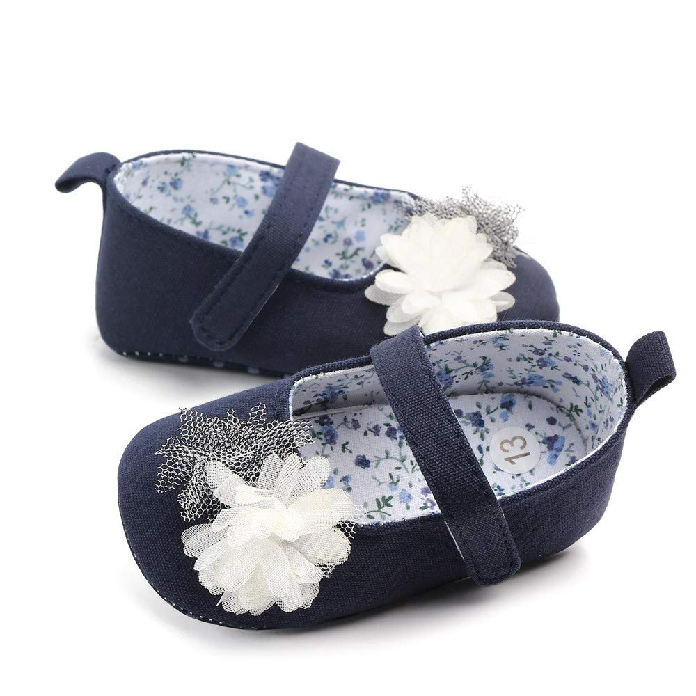 NUWFOR Newborn Baby Cute Girls Canvas Flower Single First Walker Soft Sole Shoes(Dark Blue,0-3Months) by NUWFOR (Image #3)
