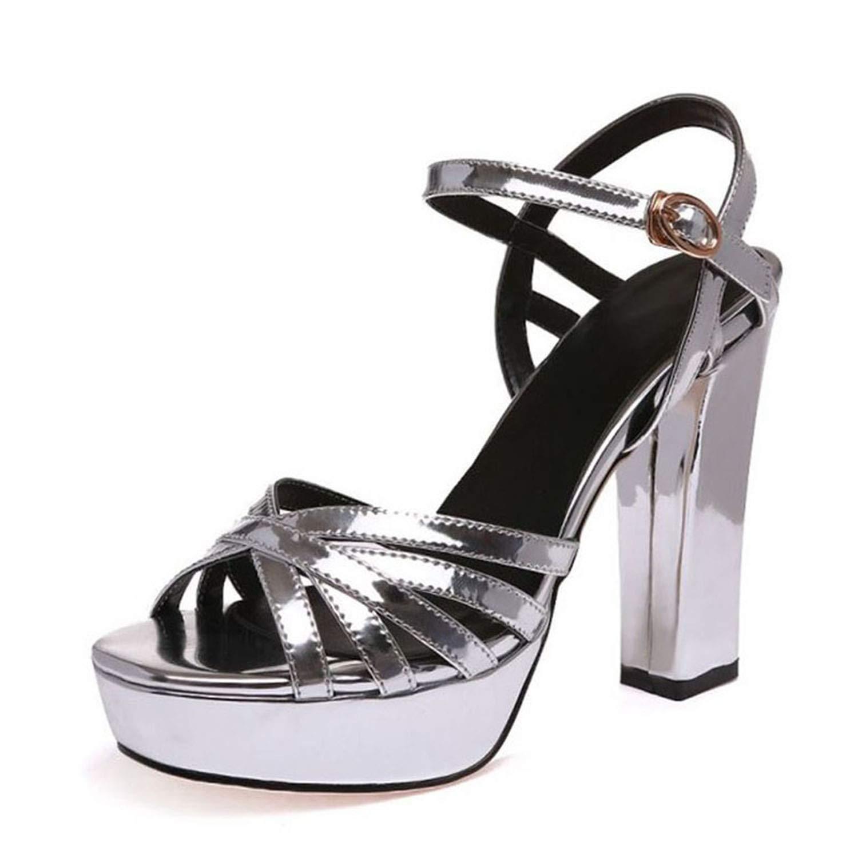 Women High Heel Sandals Platform Ankle Strap Peep Toe Spike Heel Sandals