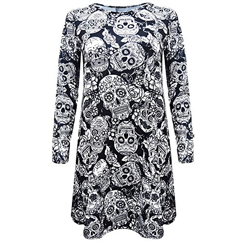 Clearance Sale!Toimoth New Womens Ladies Halloween Pumpkin Skull Long Sleeve Party Mini Dress (BlackA,XL)]()
