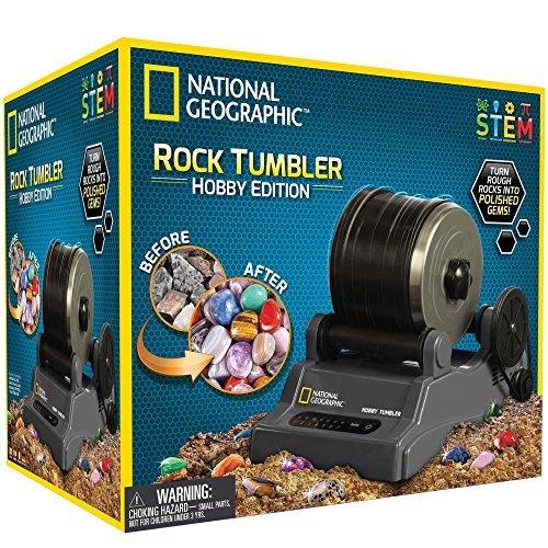 NATIONAL GEOGRAPHIC Hobby Rock Tumbler Kit - Includes Rough Gemstones, 4 Polishing Grits, Jewelry Fastenings and Detailed Learning Guide - Great STEM Science Kit for Mineralogy and Geology Enthusiasts