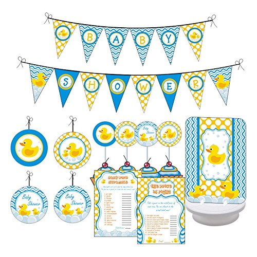 Rubber Ducky Baby Shower Party. Boy / Girl Baby Shower Party Decorations. Includes Party Games, Centerpieces, Bunting Banner, Danglers and Cupcake Toppers. (Blue, Yellow)