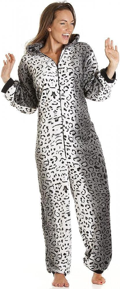 Camille Womens Ladies Lujo Snow Leopard Cat Todo en uno Pijama de Forro Polar Onesie