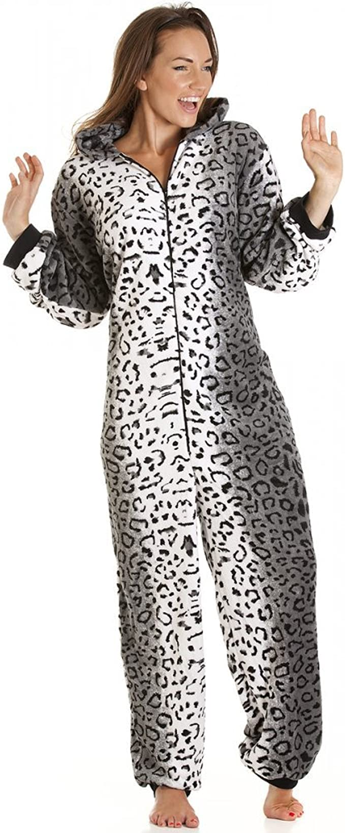 Camille Womens Ladies Snow Leopard Cat Todo en uno Pijama de Forro Polar Onesie