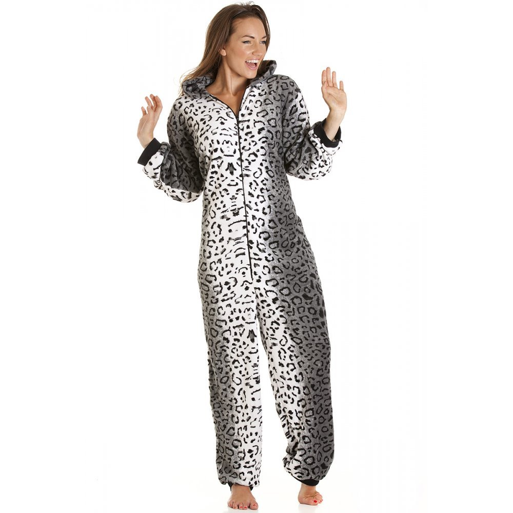 TALLA 41987. Camille Womens Ladies Lujo Snow Leopard Cat Todo en uno Pijama de Forro Polar Onesie