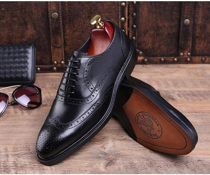 JTQMDD Zapatos de Vestir de Negocios genuinos para Hombres
