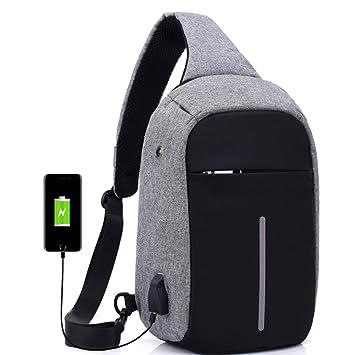 Mochila moderna y unisex con puerto de carga USB, diseño antirrobo y auriculares, de nailon, mujer, gris, 18cm*10cm*31cm: Amazon.es: Deportes y aire libre