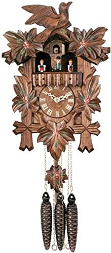 River City Clocks One Day Musical Cuckoo Clock with Dancers, Five Hand-Carved Maple Leaves, One Bird, and Hand-Painted Flowers – 14 Inches Tall – Model MD411-14P