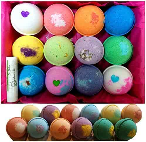Bath Bombs 12 Vegan Gift Set, w/Free Lip Balm, Organic Coconut Oil & Aromatherapy Essential Oils, Cruelty Free, Handmade in the USA with - from Enhance Me