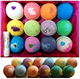 Bath Bombs Mothers Day, 12 Vegan Gift Set, w/Free Lip Balm, Organic Coconut Oil & Aromatherapy Essential Oils, Cruelty Free, PABA Free, Handmade in the USA