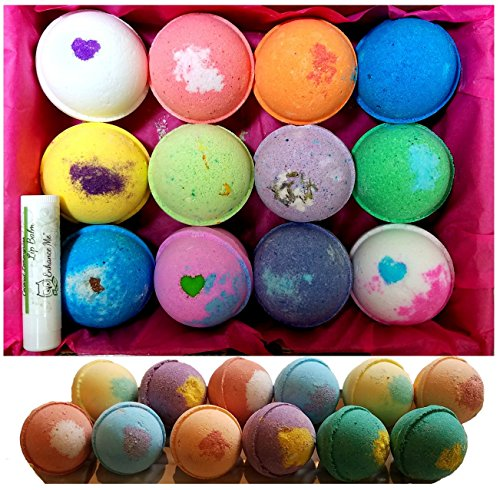 12 Vegan Bath Bombs Gift Set, w/Free Lip Balm, Organic Coconut Oil & Aromatherapy Essential Oils, Cruelty Free, PABA Free, Handmade in the USA (Wholesale Bath Bombs)