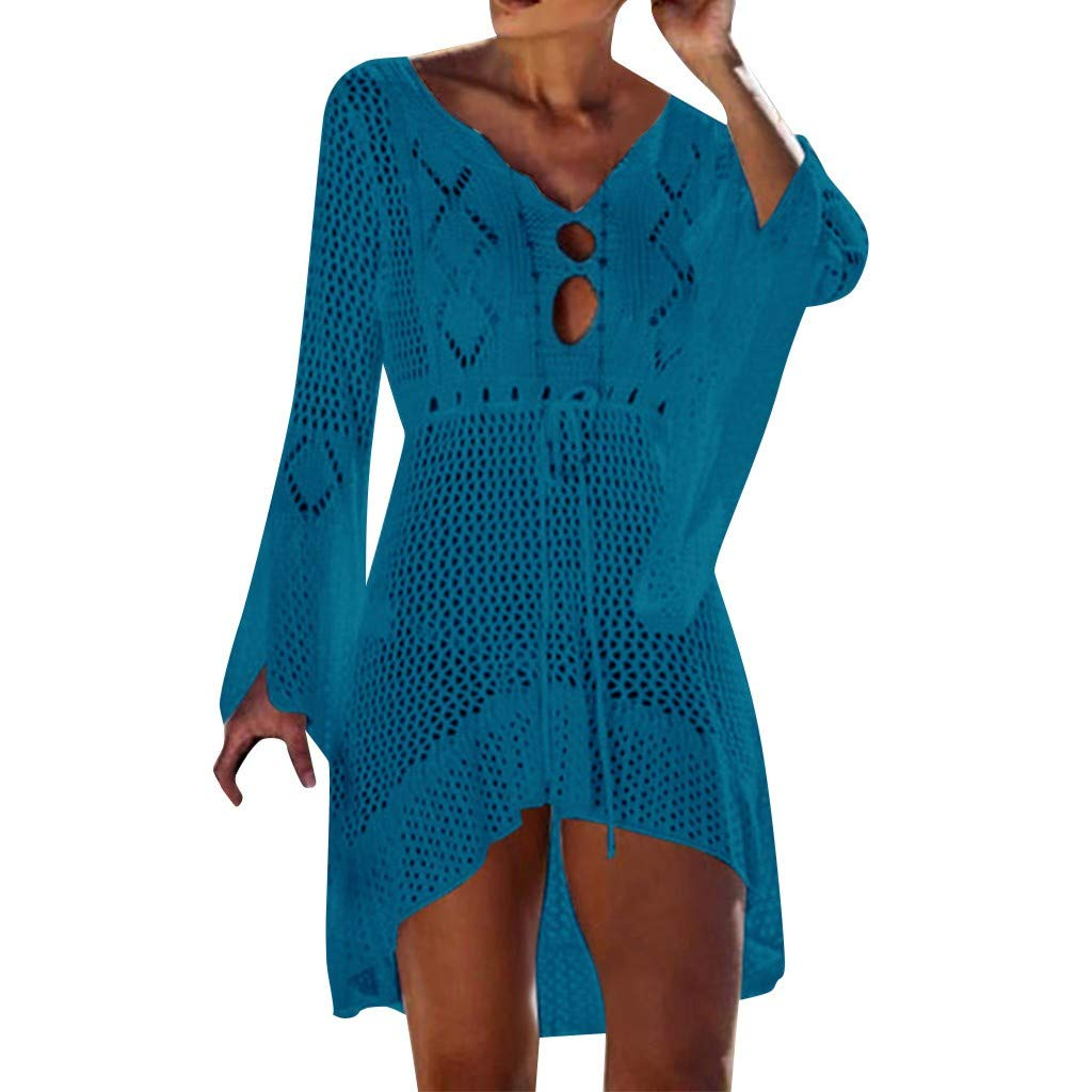 Keliay Dress for Women Summer,Women Crochet Sunscreen Cover Up Bikini Swimwear Knit Beach Swimsuit Bandage Blue by Keliay