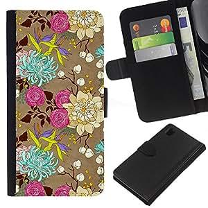 Flores Rosas Arte Dibujo- la tarjeta de Crédito Slots PU Funda de cuero Monedero caso cubierta de piel Para Sony Xperia Z1 L39