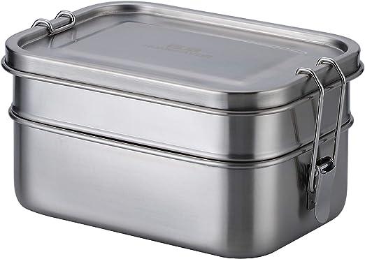 G.a HOMEFAVOR Cajas para el Almuerzo de Acero Inoxidable, 2-in-1 Almacenamiento de Alimentos, Caja de Metal Bento con Clips: Amazon.es: Hogar