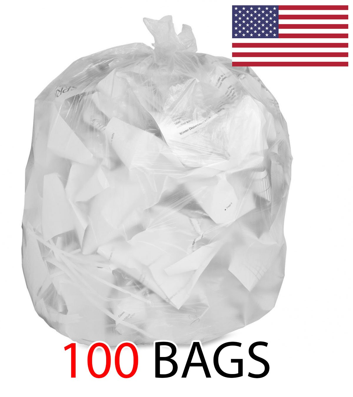 Strong Clear Trash Bags, Transparent See Through Garbage Bags (100, 39 Gallon) Ox Plastic