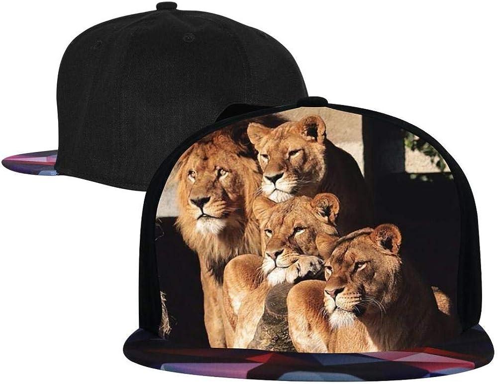 PASPTTO Cute Animal Lion Parents Love Hip Hop Hat Mens Fashion Full Frame 3D Print Adjustable Truck Driver Baseball Cap