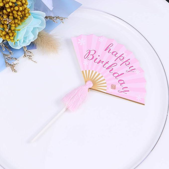 YeahiBaby 6pcs Cupcake Toppers Ventilador Plegable con borlas Feliz cumpleaños Cake Toppers Selecciones para Baby Shower Cumpleaños Fiesta de Bodas Pastel ...