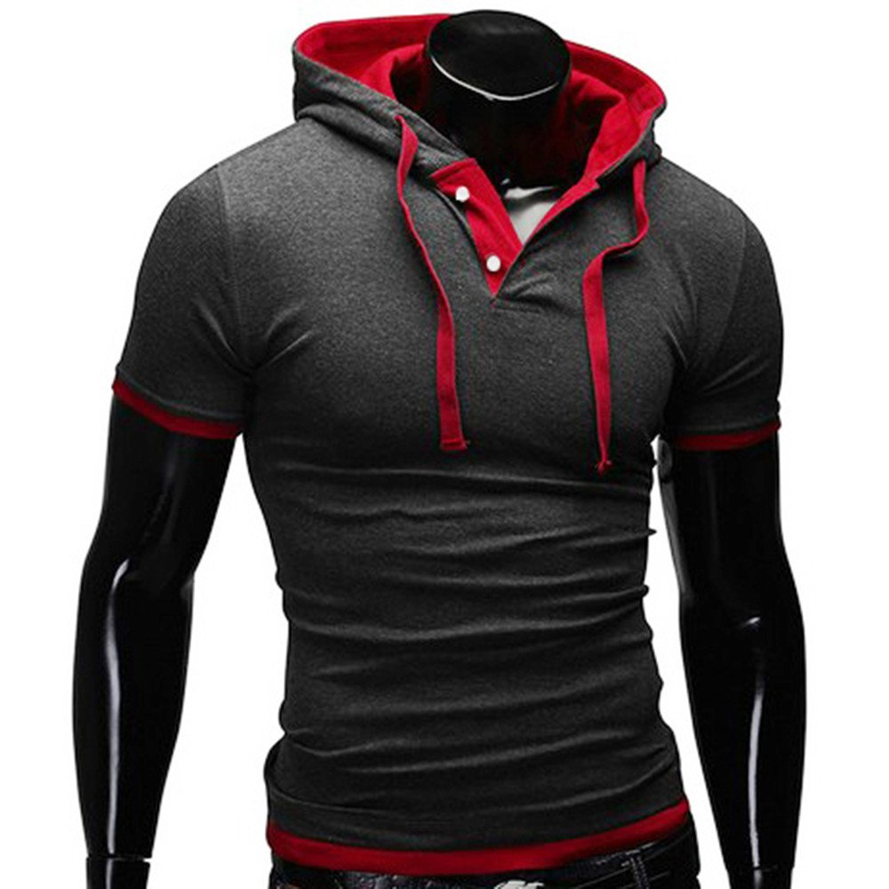 Hooded Pullover Hosamtel Men Summer Short-Sleeved Slim T-Shirt Top Small Size HT1667
