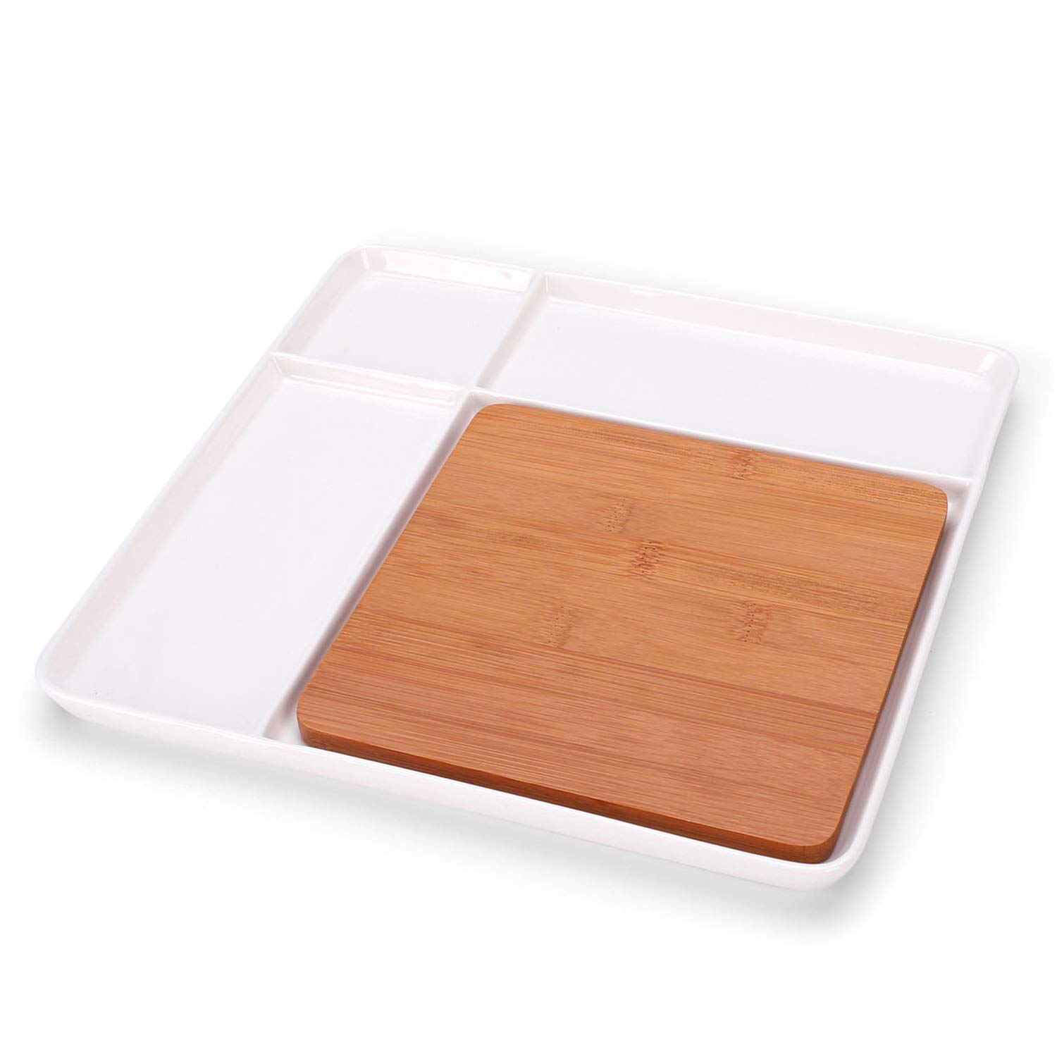 Ceramic Divided Plate with Bamboo Cutting Board - Cheese Board Salad Plate Dinner Plate Cake Plate - Gift Idea - Great Use as Any Occasion (White) One Goods