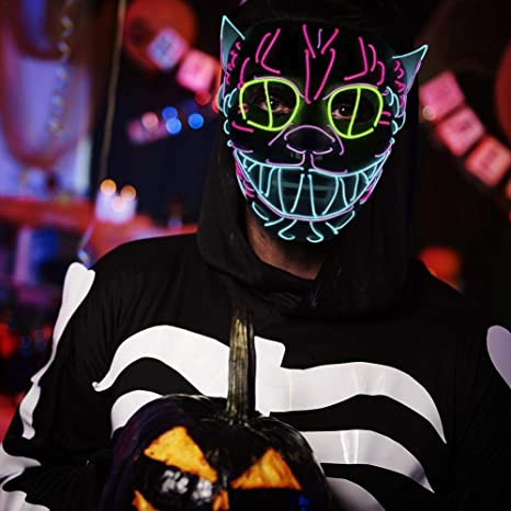 Amazon.com: LED Halloween Mask EL Wire Mask Flashing Cosplay LED MASK Glowing Cat Mask Costume Anonymous Mask: Baby