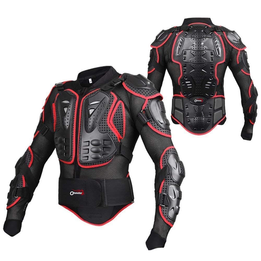 OHMOTOR Motorcycle Motorbike Full Body Armor Protector Pro Street Motocross ATV Guard Shirt Jacket with Back Protection(Red, L)