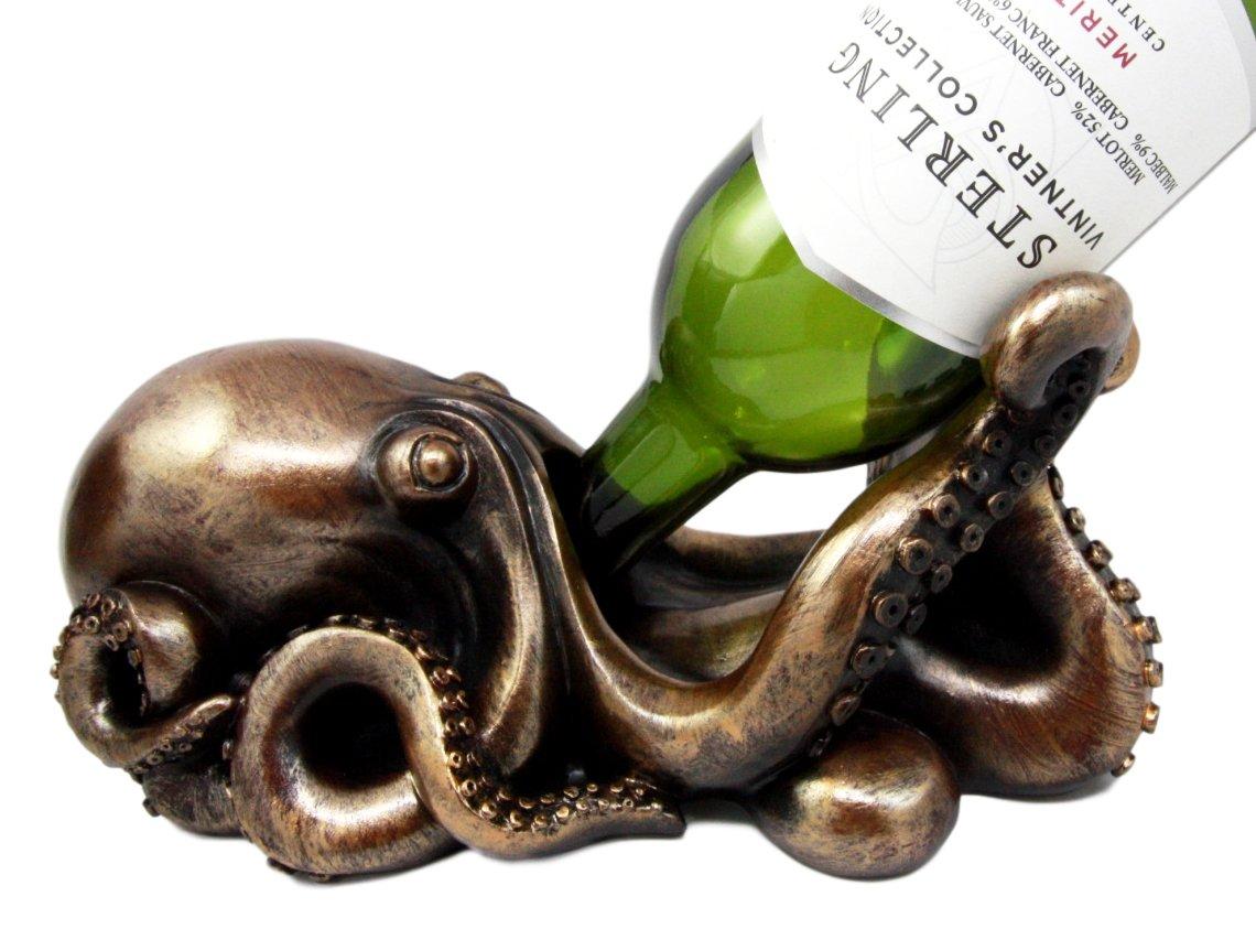 Ebros Octopus Wine Bottle Holder Caddy The Call Of Cthulhu Kraken Figurine 10