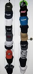 ActiveFit Apparel Sports Ballcap Hat Rack Storage. 2 x 9 Hat Racks for Baseball Caps, Hats Shelf Cap Holder. It Holds up to 18 Sports Hats Caps Excellent Ball Cap Rack Storage Holder Organiser