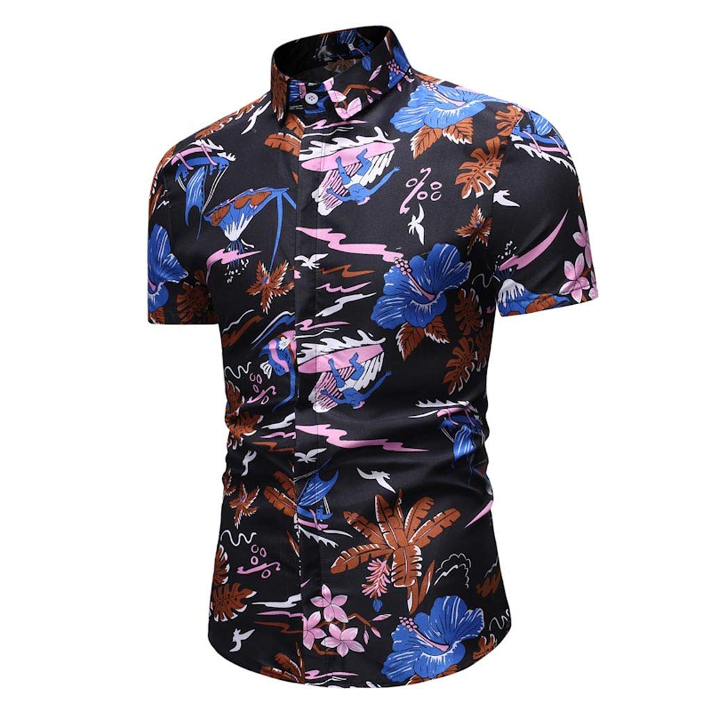 MODOQO Mens Floral Printed Button Down Shirts Short Sleeve Luxury Classic Business Dress Shirt