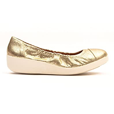 6aa72017af5c FitFlop Womens F-Pop™ Ballerina Flat Pale Gold Size 8